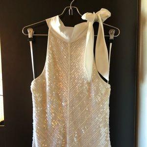 WHBM White /cream sequin neck tie blouse